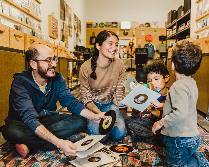 a family looks through records