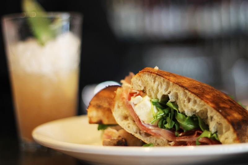 sandwich and a drink from a Pearl District restaurant