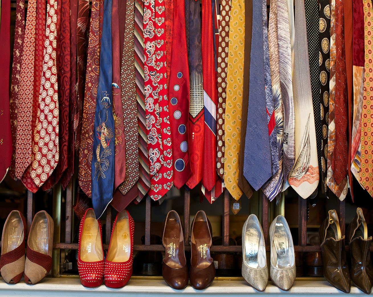 a collection of ties and hats at Hattie's Vintage in Southeast Portland