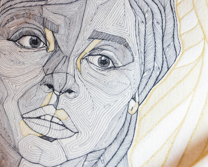 an embroidery pattern to stitch a woman's portrait
