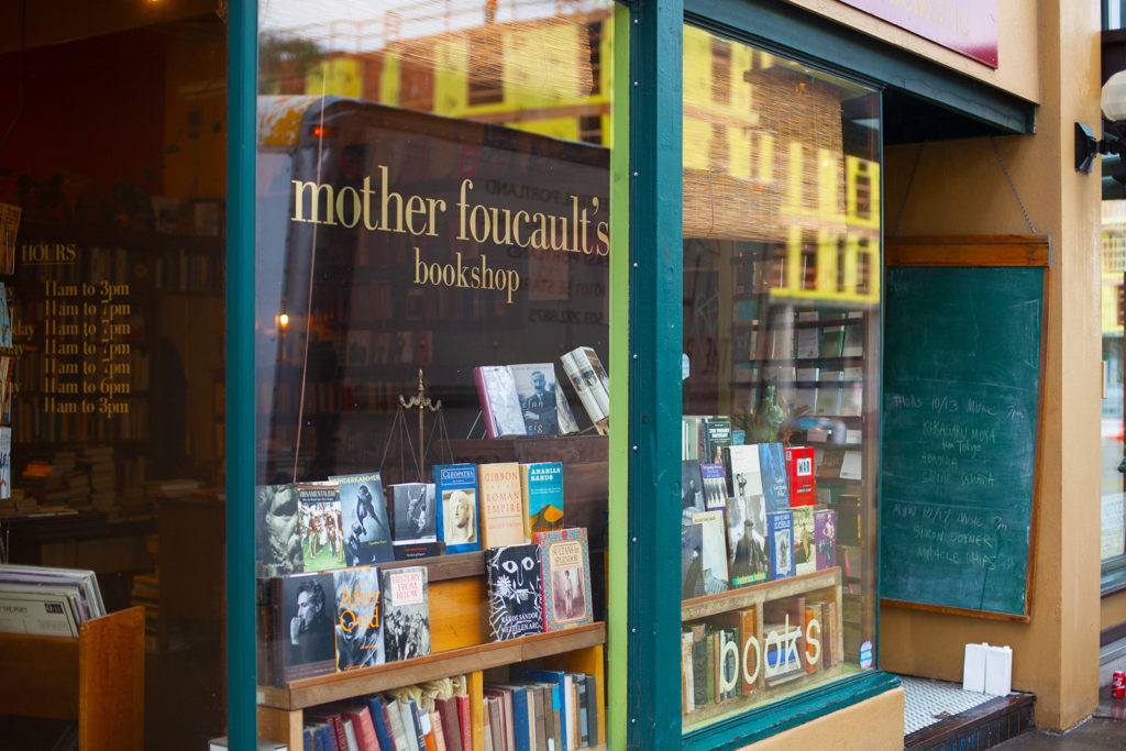 window display at mother foucault's bookshop