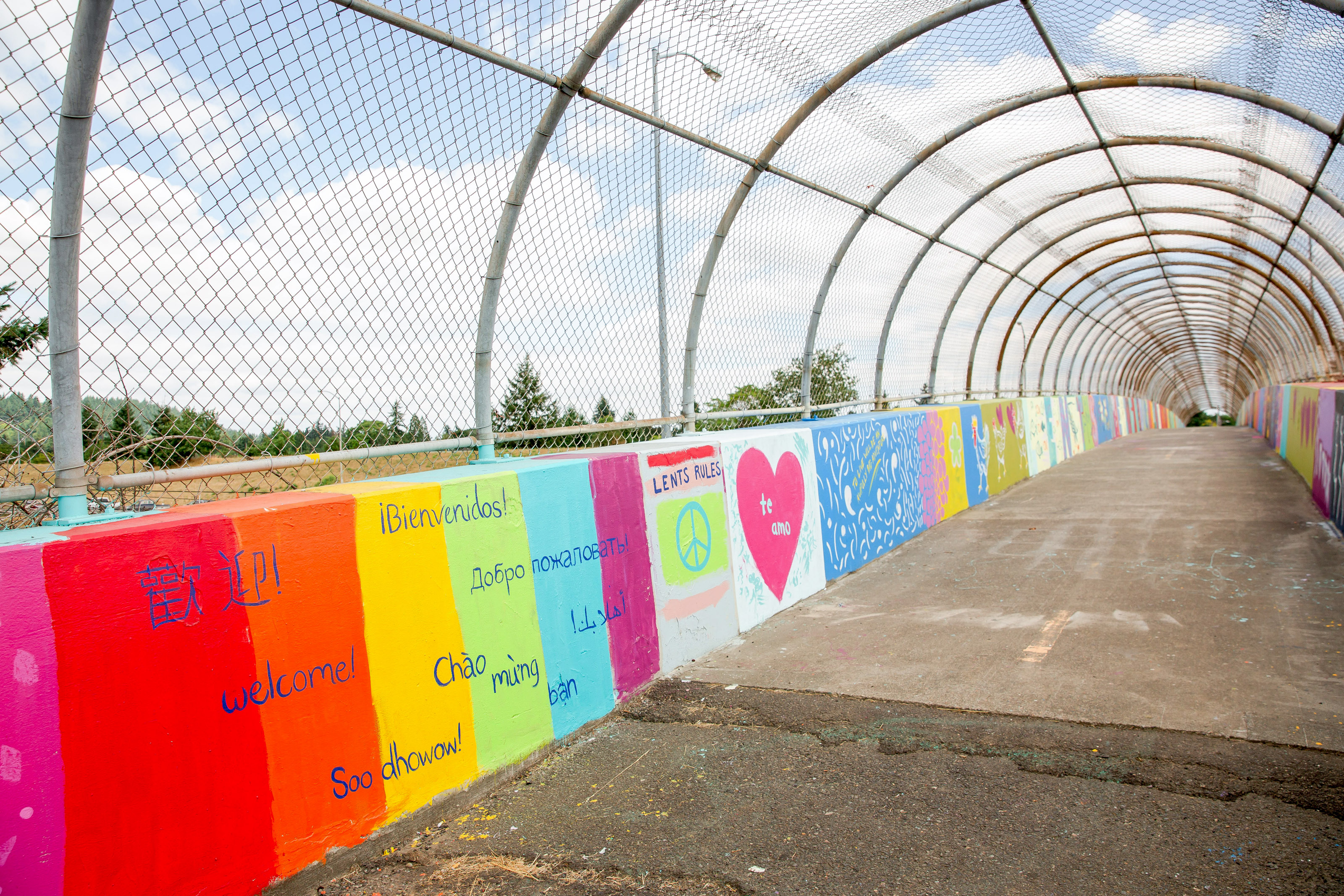 footbridge that bisects Lents neighborhood is painted in multiple colors