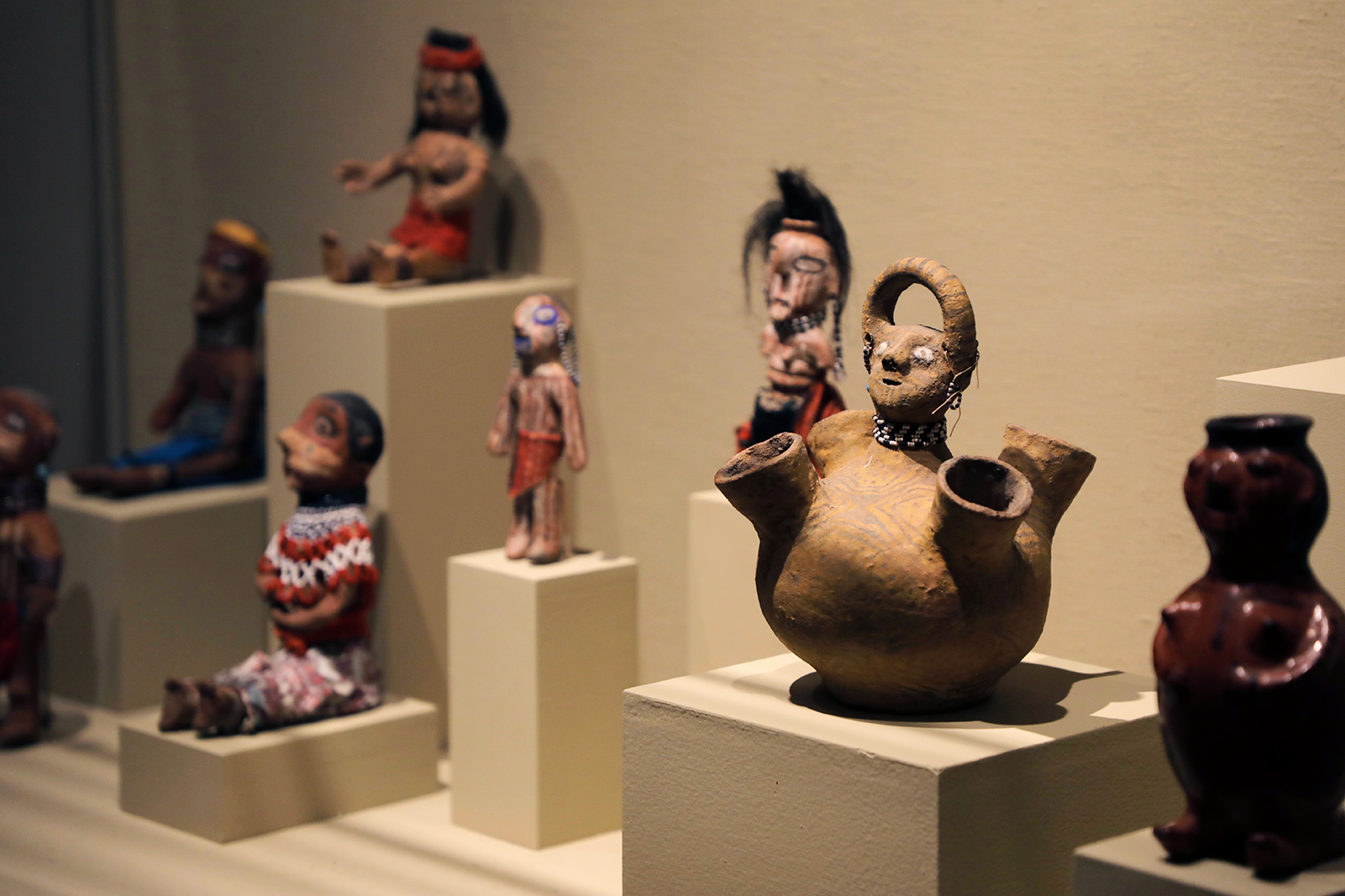 a display of native american art at portland art museum