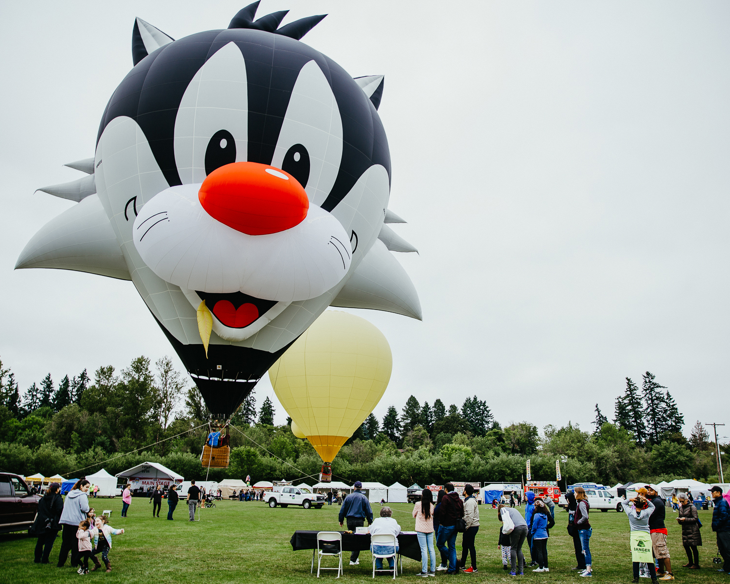 a sylvester the cat shaped hot air balloon sits against a grey sky
