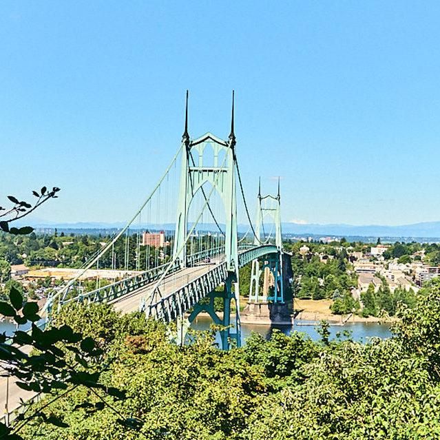 St. Johns Bridge seen through trees